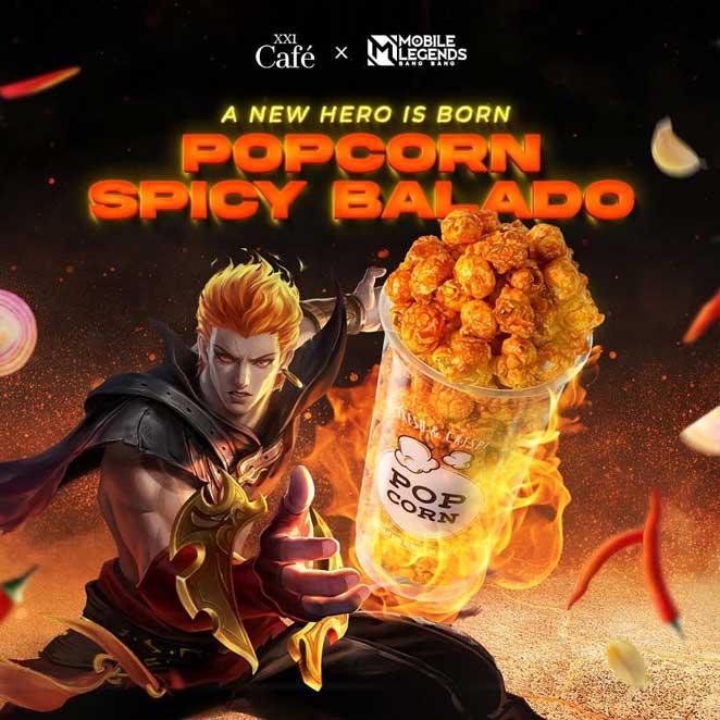 Dapatkan skin Epic Permanen Mobile Legends dengan membeli Popcorn Spicy Balado di XXI.